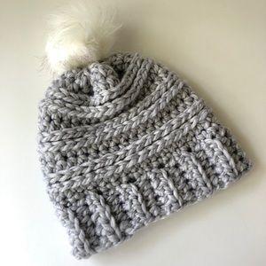 Gray Hat -Handmade Winter Crochet Hat with Pompom
